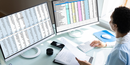 Accountant sitting in front of computer with spreadsheets