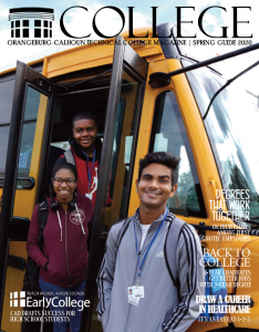 cover with early college students in front of school bus