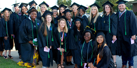 Group of Graduates in cap and gown